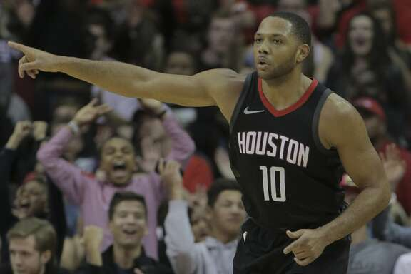 Houston Rockets guard Eric Gordon (10) points after scoring a three-point shot in the second half of game action against the LA Clippers at the Toyota Center on Friday, Dec. 22, 2017, in Houston. Clippers won the game 128-118. ( Elizabeth Conley / Houston Chronicle )
