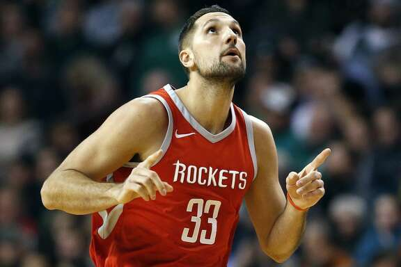Houston Rockets' Ryan Anderson celebrates after making a three-pointer during the second quarter of an NBA basketball game against the Boston Celtics in Boston, Thursday, Dec. 28, 2017. (AP Photo/Michael Dwyer)