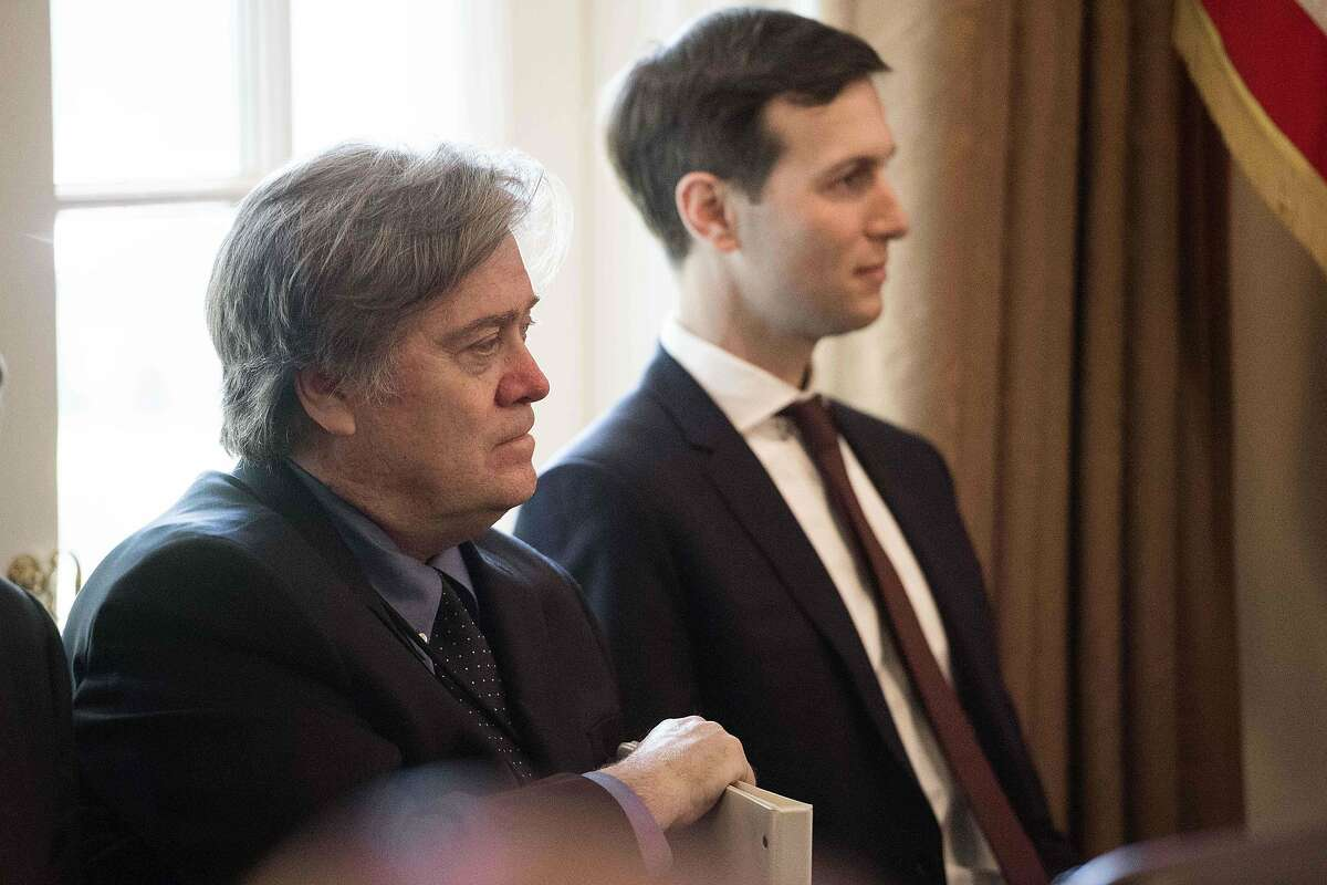 Steve Bannon served as Trump's chief strategist for seven months. He was forced out of the White House in August three weeks after Gen. John Kelly was named White House Chief of Staff, replacing Reince Priebus. Reports indicate that Bannon was fired for a number of reasons, including feuding with Trump's son-in-law Jared Kushner (pictured) and allegedly being responsible for President Trump's controversial response to the Charlottesville riots.