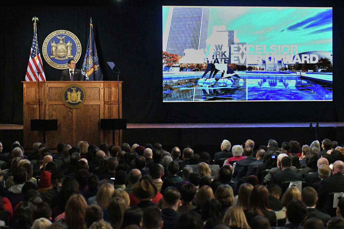 Gov. Andrew Cuomo delivers his 2018 State of the State Address at the Empire State Plaza Convention Center Tuesday Jan. 3, 2018 in Albany, NY. (John Carl D'Annibale / Times Union)