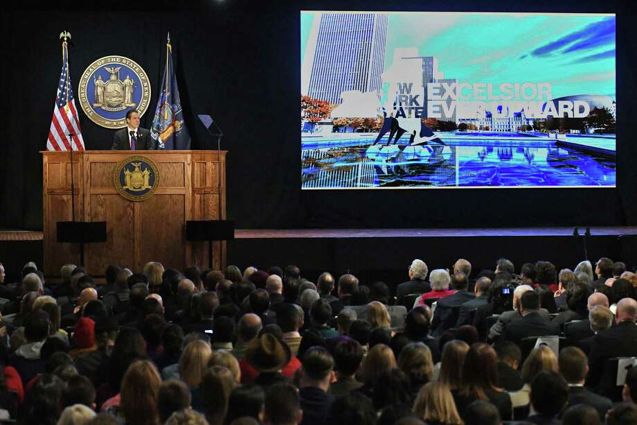 Gov. Andrew Cuomo delivers his 2018 State of the State Address at the Empire State Plaza Convention Center Tuesday Jan. 3, 2018 in Albany, NY.  (John Carl D'Annibale / Times Union) Photo: John Carl D'Annibale / 20042389A