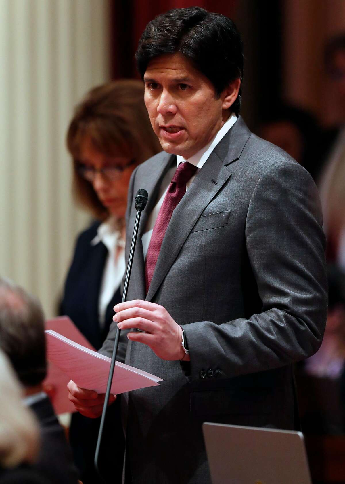 Senator Kevin de Leon, President pro Tempore of the California Senate, during session at State Capitol in Sacramento, Calif., on Wednesday, January 3, 2018.