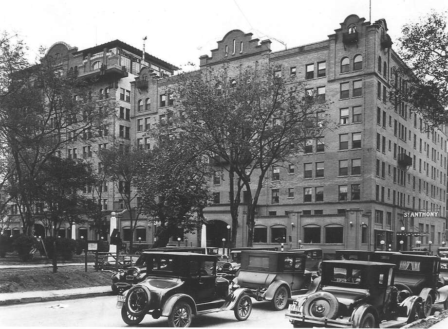 The St. Anthony Hotel, photographed in the 1920s. Travis Park is the open space on the left side of the image. Photo: Courtesy St. Anthony Hotel / COURTESY OF THE ST ANTHONY HOTEL