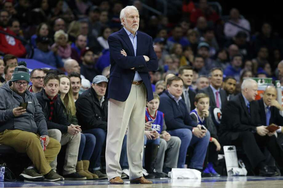 PHILADELPHIA, PA - JANUARY 3: Head coach Gregg Popovich of the San Antonio Spurs follows the game against the Philadelphia 76ers in the first half at Wells Fargo Center on January  3, 2018 in Philadelphia, Pennsylvania. NOTE TO USER: User expressly acknowledges and agrees that, by downloading and or using this photograph, User is consenting to the terms and conditions of the Getty Images License Agreement. Photo: Rob Carr, Getty Images / 2018 Getty Images