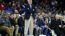 PHILADELPHIA, PA - JANUARY 3: Head coach Gregg Popovich of the San Antonio Spurs follows the game against the Philadelphia 76ers in the first half at Wells Fargo Center on January  3, 2018 in Philadelphia, Pennsylvania. NOTE TO USER: User expressly acknowledges and agrees that, by downloading and or using this photograph, User is consenting to the terms and conditions of the Getty Images License Agreement.