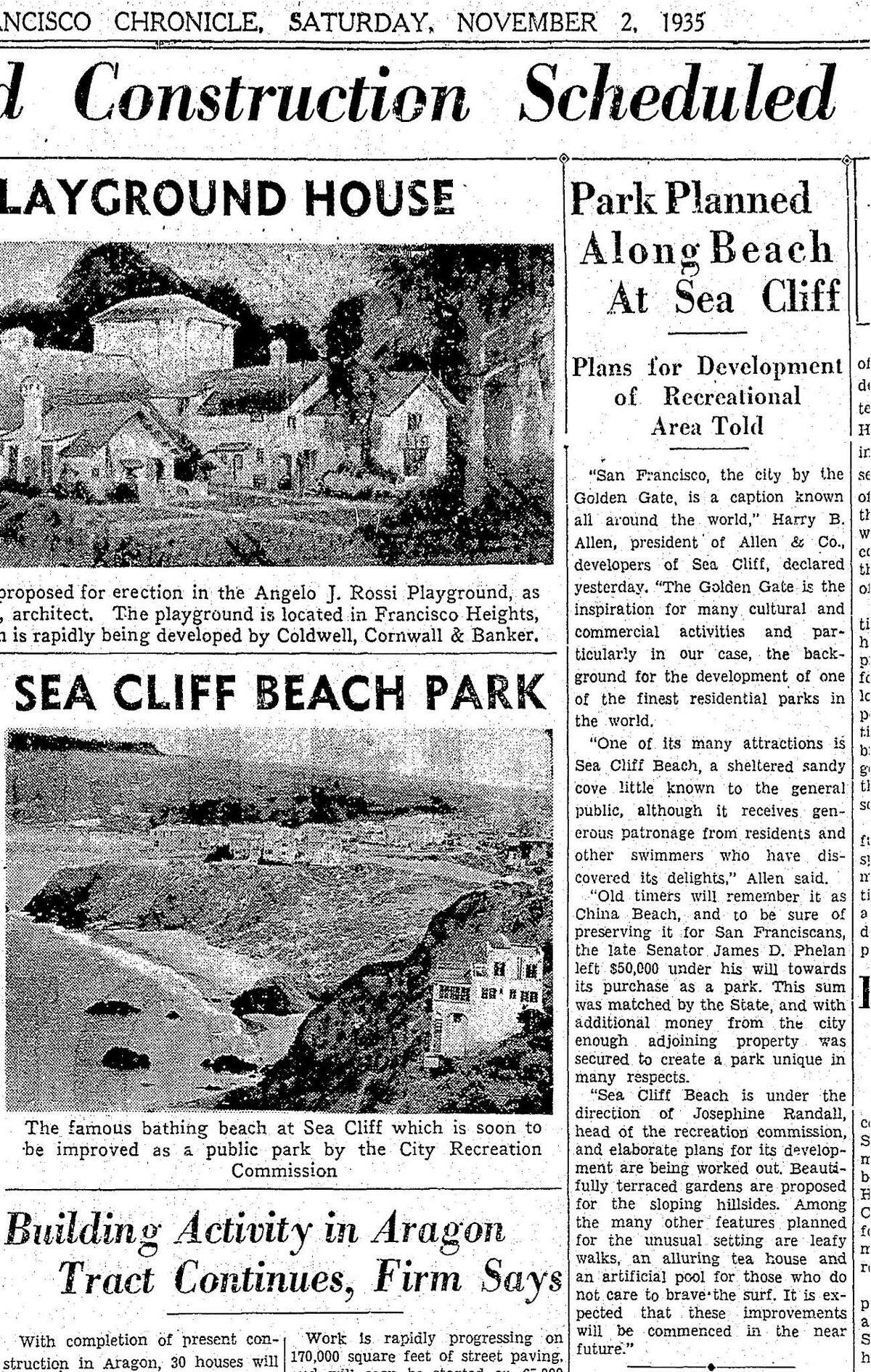 A Chronicle article on planned improvements China Beach, in San Francisco, November 2, 1935