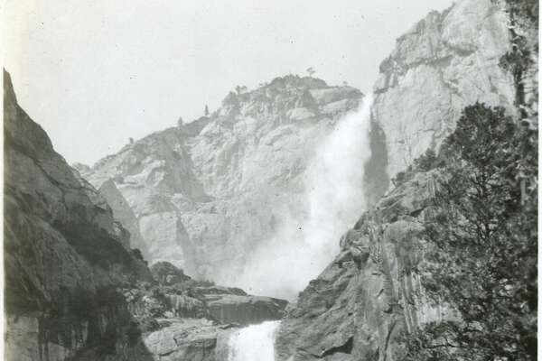 """Caption: """"Yosemite Falls,"""" c. 1917. Both Upper and Lower Yosemite Falls can be seen in this photograph, taken at a location near the base of Lower Yosemite Fall.   [Caption source: California State Archive]"""