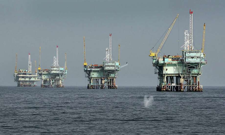 These old oil rigs are in the Santa Barbara Channel off California. The Trump administration is expected to propose auctioning oil and gas drilling rights in the Arctic Sea, the Atlantic Ocean, the eastern Gulf of Mexico and possibly Pacific waters around the U.S. Photo: Al Seib, MBR / Los Angeles Times