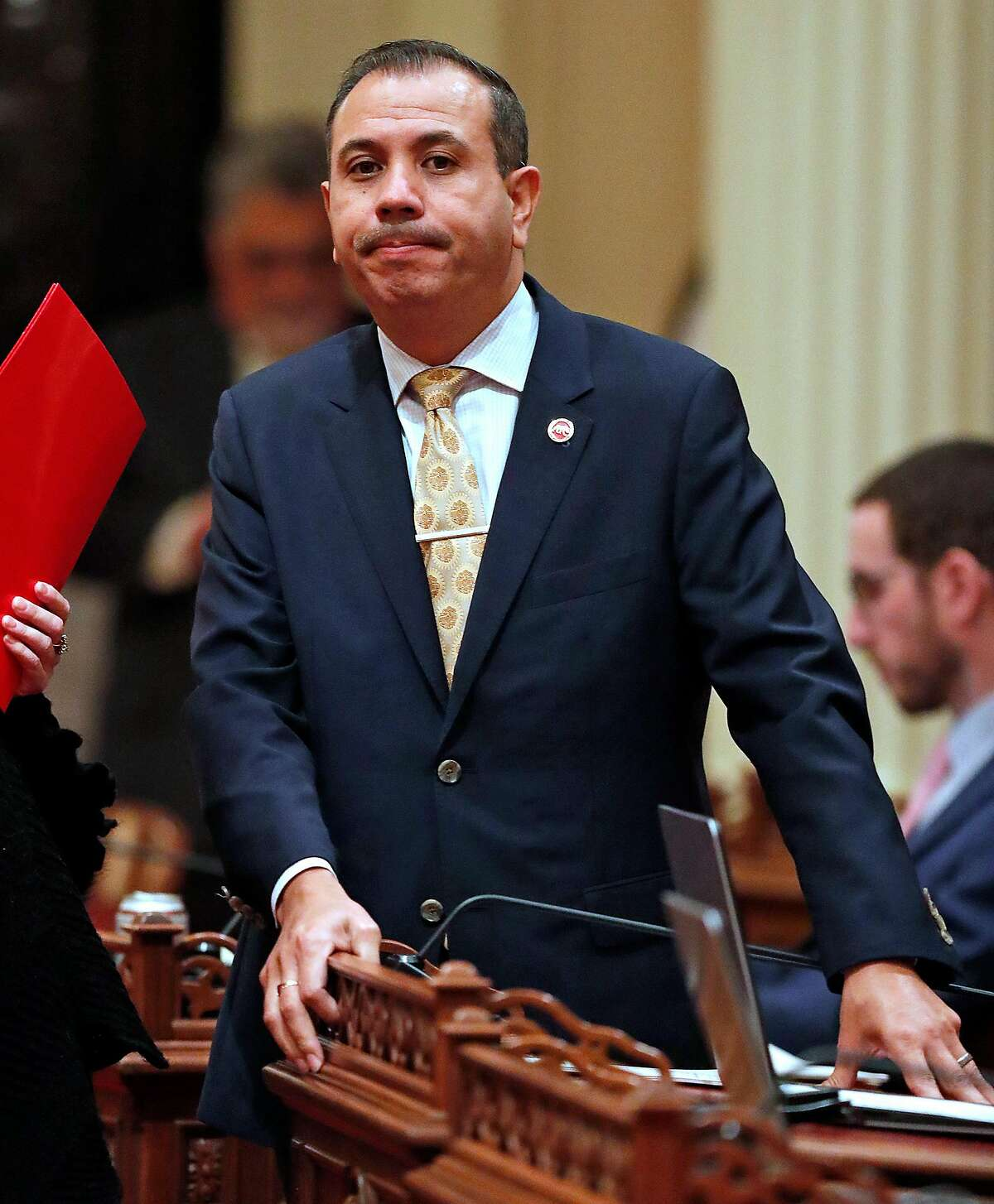 California Senator Tony Mendoza after announcing that he will take a one month leave of absence during the investigation of his alleged sexual misconduct during session at State Capitol in Sacramento, Calif., on Wednesday, January 3, 2018.