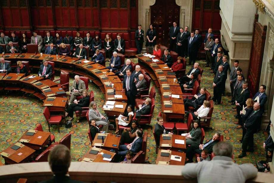 Senate Majority Leader John Flanagan stands to address members of the Senate on Wednesday, Jan. 3, 2108, in Albany, N.Y.  (Paul Buckowski / Times Union) Photo: PAUL BUCKOWSKI / 20042325A