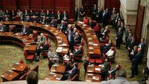 Senate Majority Leader John Flanagan stands to address members of the Senate on Wednesday, Jan. 3, 2108, in Albany, N.Y.  (Paul Buckowski / Times Union)