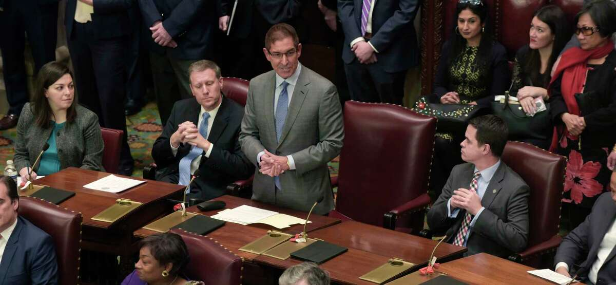 Former-Independent Democratic Conference Leader, Senator Jeff Klein, stands to address members of the Senate on Wednesday, Jan. 3, 2108, in Albany, N.Y. (Paul Buckowski / Times Union)