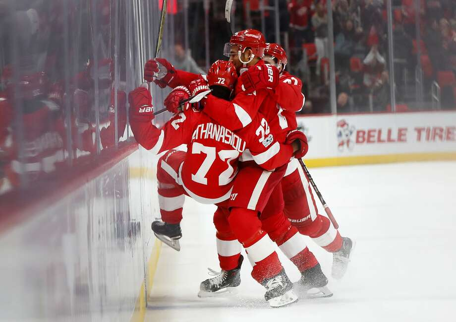 Detroit's Andreas Athanasiou (72) celebrates his game-win ning goal in overtime, his second of the game, against Ottawa. Photo: Paul Sancya, Associated Press