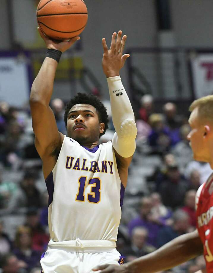 University at Albany's David Nichols takes a jump shot during a basketball game against Hartford at SEFCU Arena on Wednesday, Jan. 3, 2018 in Albany, N.Y. (Lori Van Buren / Times Union) Photo: Lori Van Buren / 20042382A