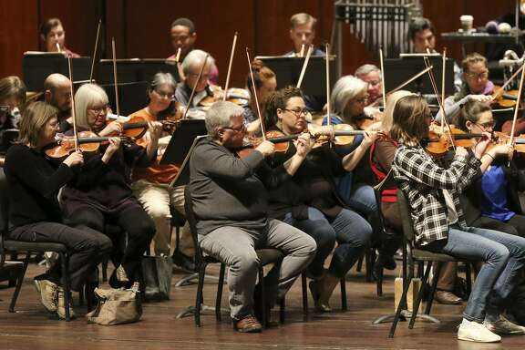 The San Antonio Symphony musicians, shown rehearsing in January, soon will begin contract negotiations for the 2018-'19 season. Their current contract runs through August.