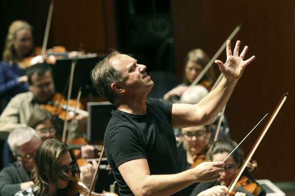 Sebastian Lang-Lessing, music director of the San Antonio Symphony, conducts a Jan. 3 rehearsal for a Tricentennial concert. The symphony is looking for a way forward in the midst of a very rocky season