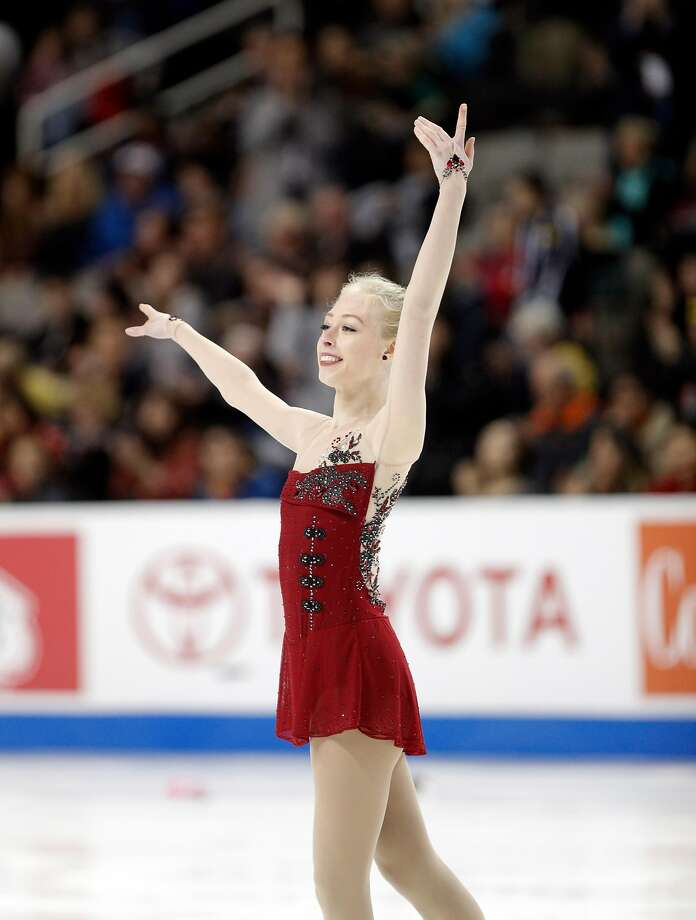 Bradie Tennell celebrates after her 2-minute, 40-second program in winning the competing in the second round during the Championship Ladies short program competition of the U. S. Figure Skating Championships, at SAP Center in San Jose, Calif., on Wednesday, January 3, 2018. Photo: Carlos Avila Gonzalez, The Chronicle