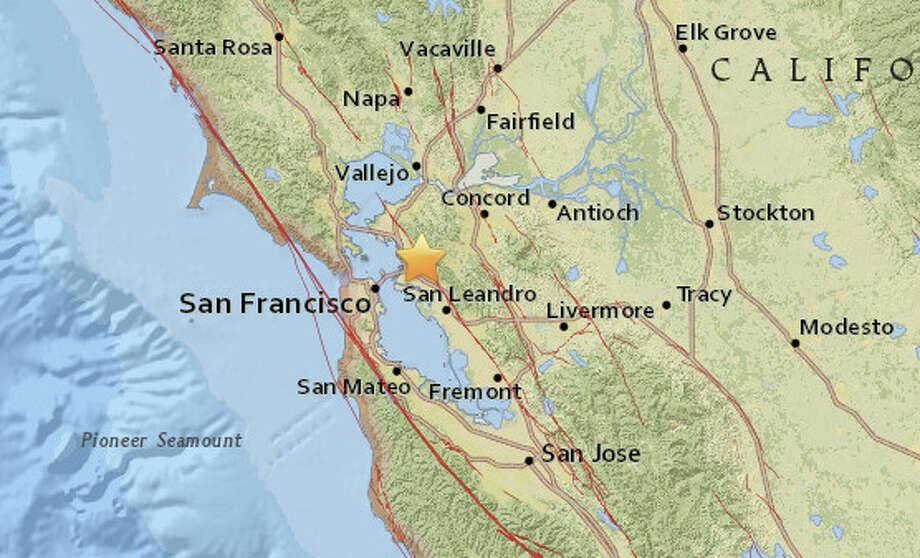 A magnitude 4.4 earthquake struck at 2:39 am in Berkeley on Thursday, January 4, 2018. Photo: USGS