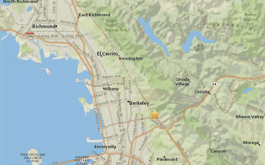 A magnitude 4.4 earthquake struck at 2:40 am in Berkeley on Thursday, January 4, 2018. Photo: USGS