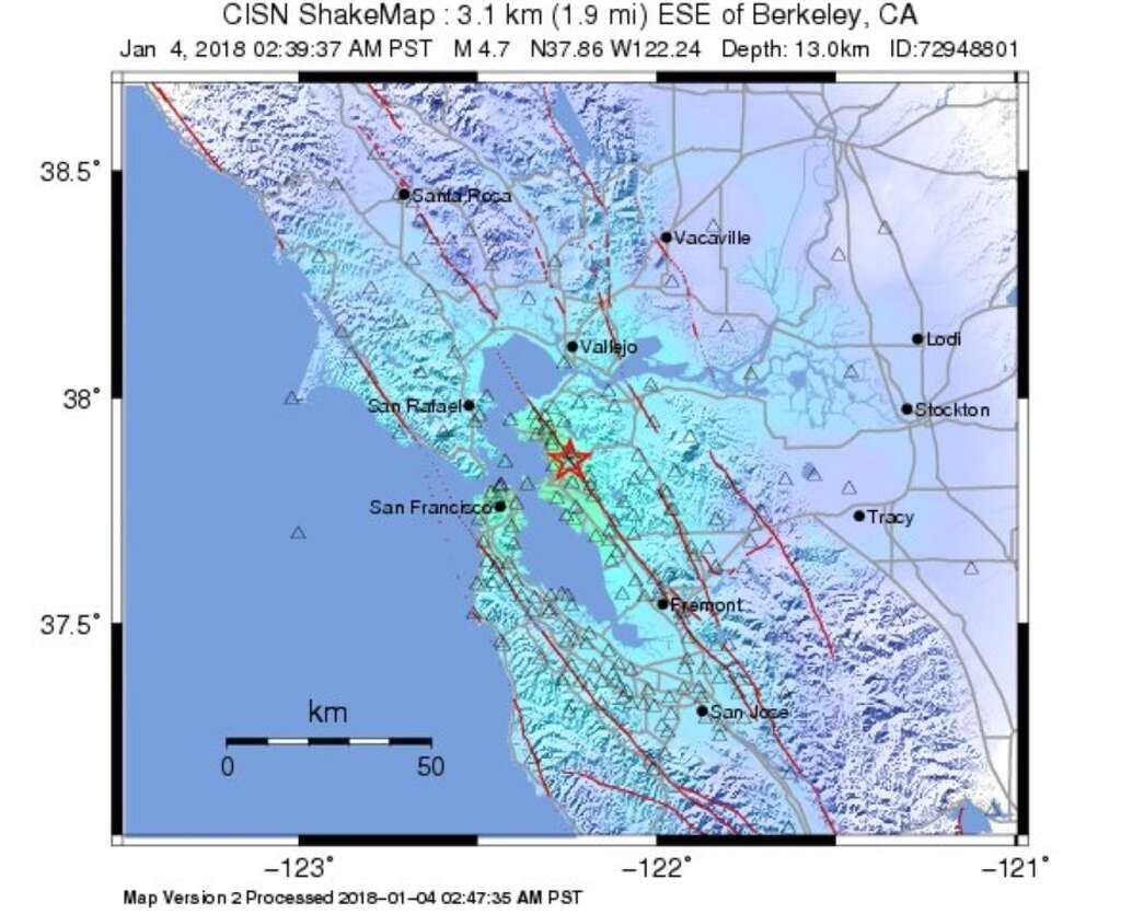 a shake map from usgs shows how far away the 4 4 magnitude berkeley quake