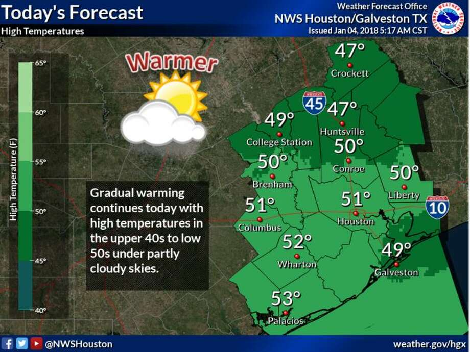 Temperatures should be in the 40s and 50s Thursday and even warmer through the weekend.