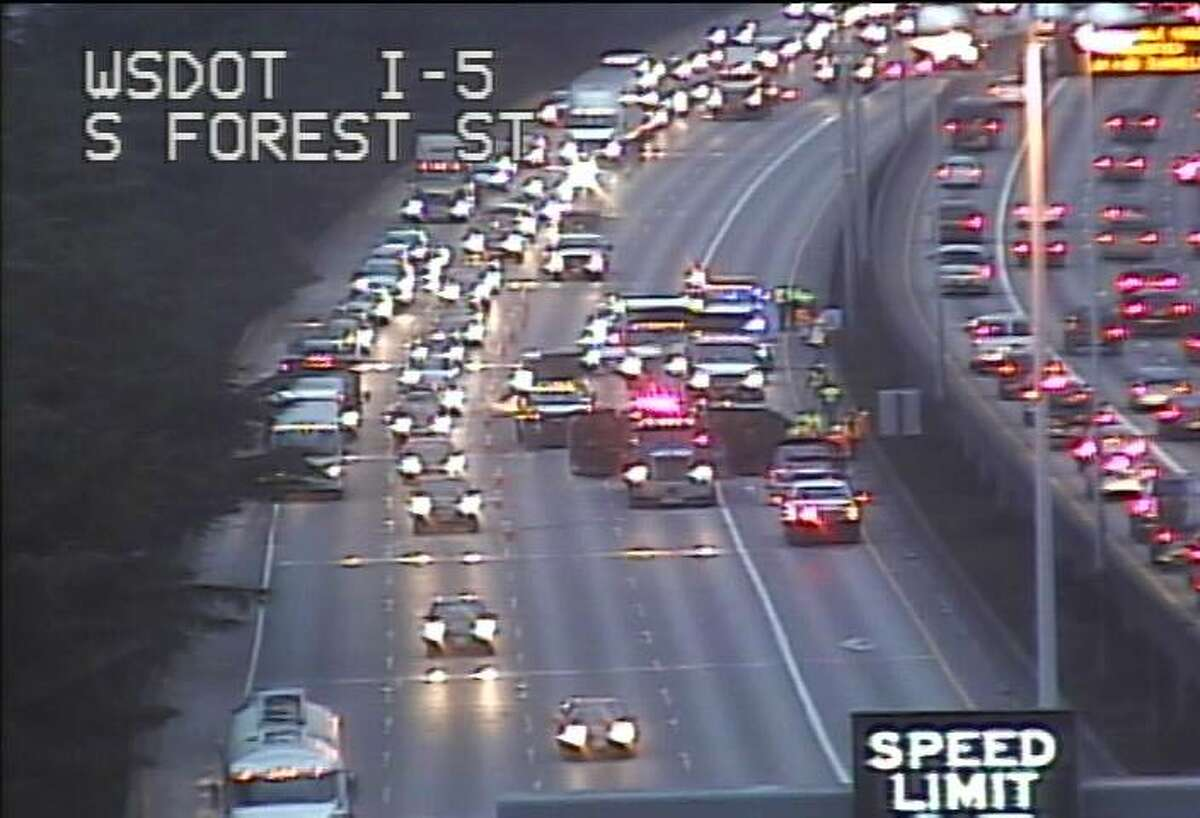 An accident can cause miles-long backups in a city with only one north-south city. Seattle ranks No. 20 on CBS News' list of world's cities with worst traffic congestion. Here, a rollover crash briefly blocked all southbound lanes of Interstate 5 Thursday morning, causing long traffic backups.