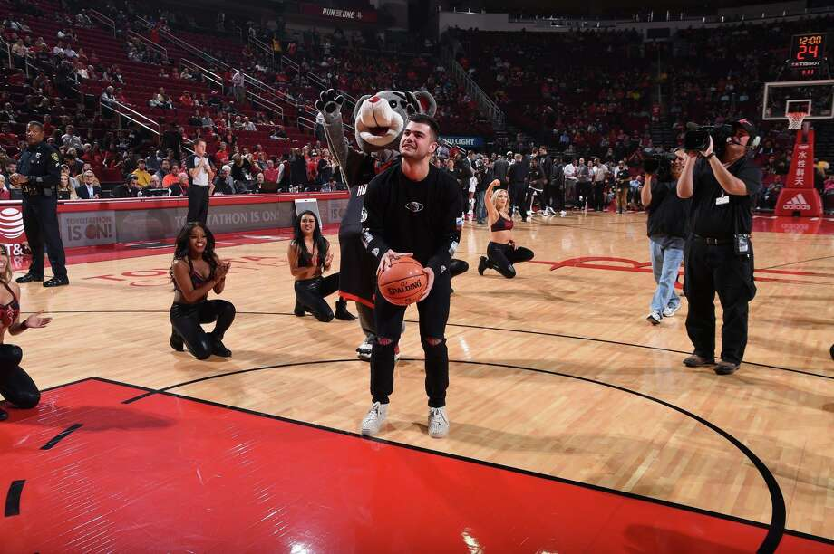 "Houston Astros pitcher Lance McCullers took the ""First Shot"" before a Rockets game on Nov. 27, 2017. Photo:   Houston Rockets"