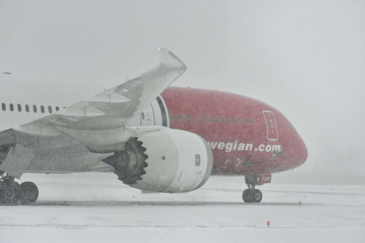 A Norwegian Air Boeing 787 Dreamliner, Flight 7013 from Gatwick Airport outside London, was en route to New York City when it was forced to land at Albany International Airport on Thursday, Jan. 4, 2018. (Will Waldron/Times Union)