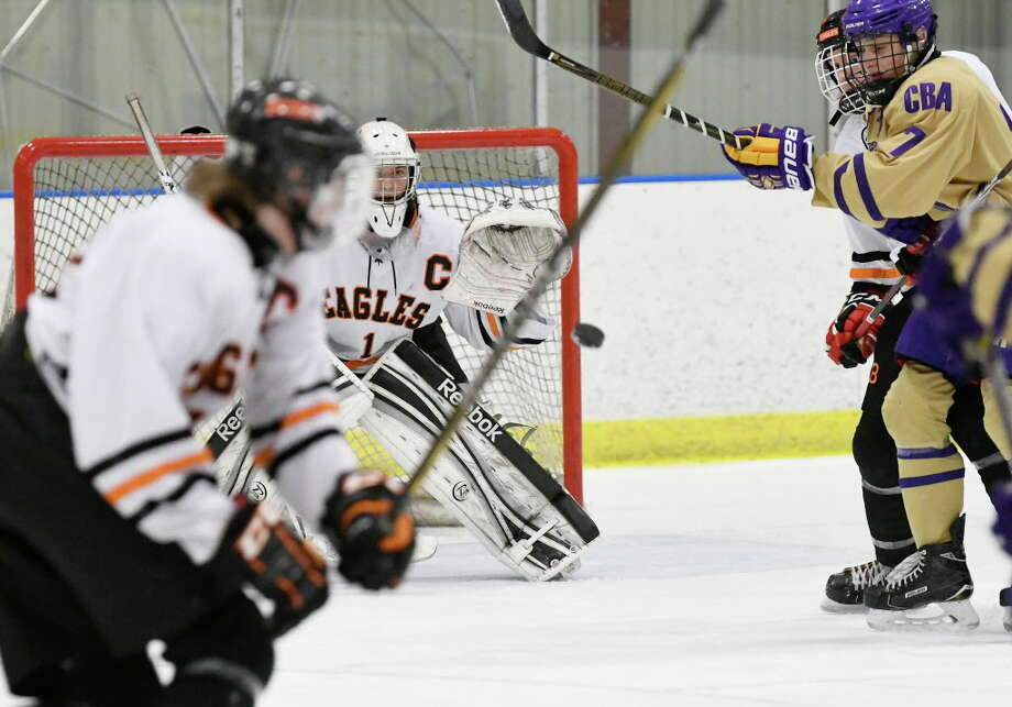 Bethlehem's goalie Brandon Mohrhoff (1) makes a save against Christian Brothers Academy's during the first period of a high school hockey game in Bethlehem, N.Y. Wednesday, Jan. 3, 2018. Photo: Hans Pennink, Times Union / Hans Pennink