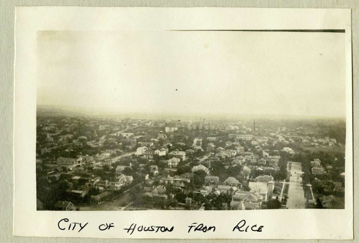 The city of Houston can be seen in this photo believed to be taken around 1915. While the photo is labeled