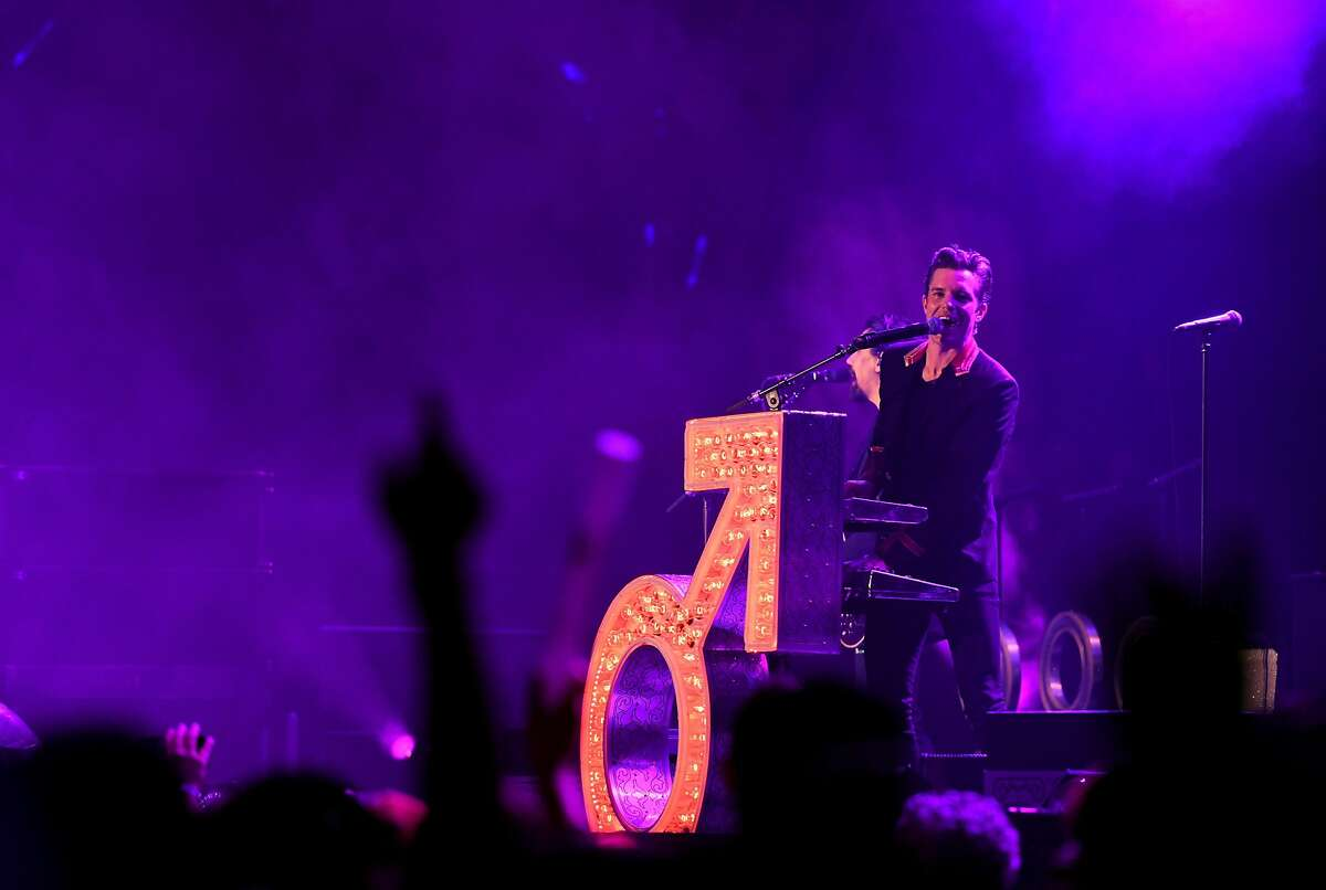 Brandon Flowers of The Killers performs onstage during KROQ Almost Acoustic Christmas on December 10, 2017 in Inglewood.
