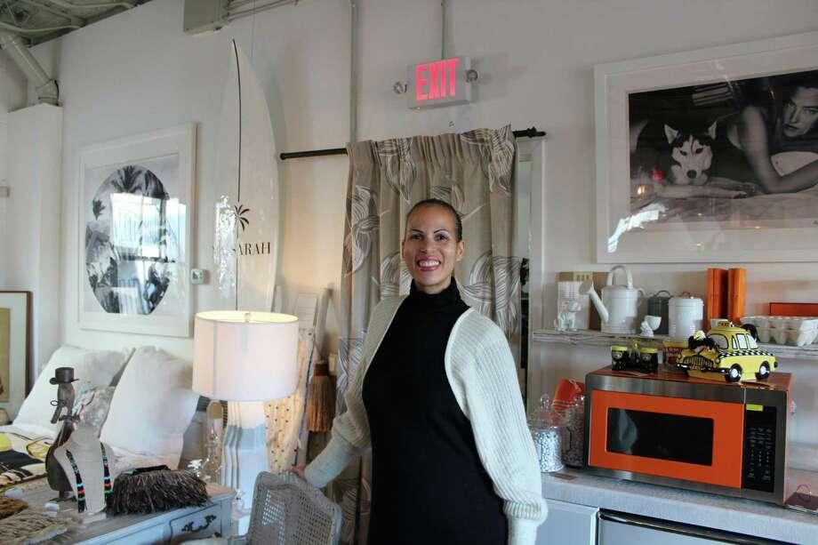 Vanessa Bikindou at her shop, Caravan Curated in New Canaan on Dec. 27, 2017. Photo: Humberto J. Rocha / Hearst Connecticut Media / New Canaan News