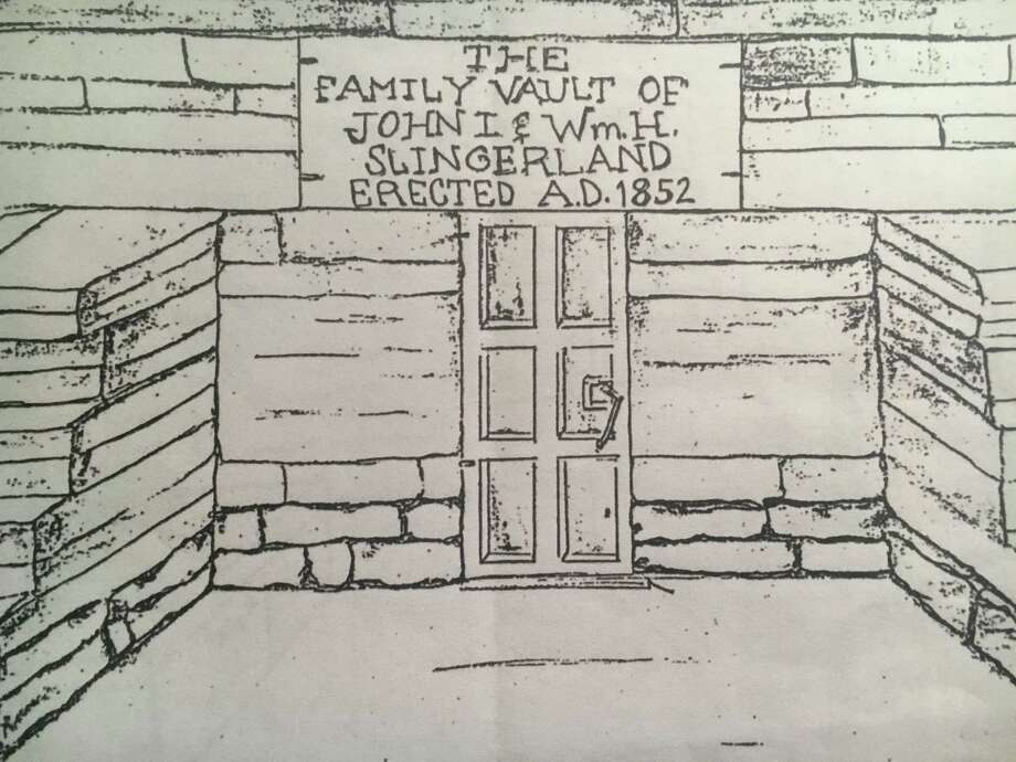 A hand sketch of the design of the Slingerland family vault, which was built in 1852, a decade before the death of family patriarch John I. Slingerland.  Photo: Courtesy Slingerland Family