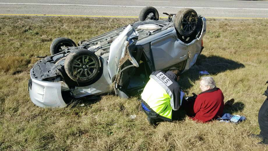 Gilley's official Facebook page posted this photo of the man himself laying on the ground next to his wrecked SUV. Photo: Mickey Gilley's Personal Update Page