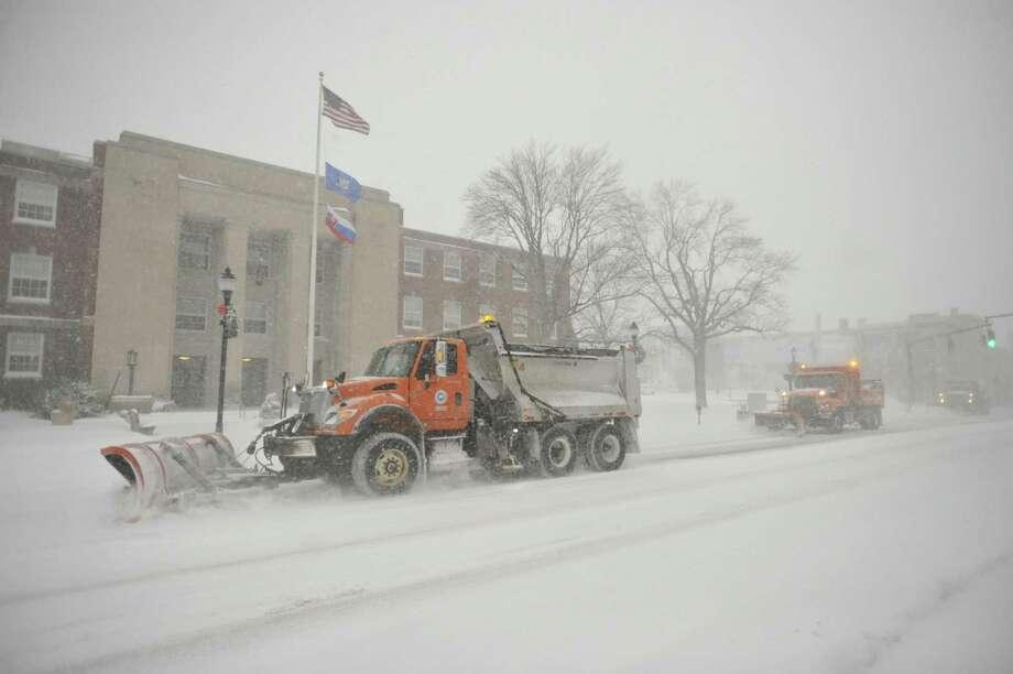 Snowy downtown Torrington, as seen Thursday. Photo: Ben Lambert / Hearst Connecticut Media
