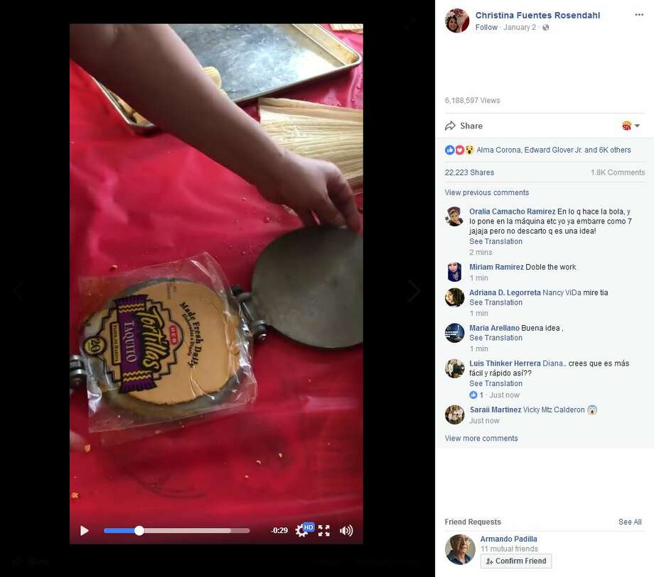 San Antonio party planner Christina Fuentes Rosendahl shared her amazing tamale-making hack using a tortilla press in a Facebook video. Click ahead to view the best places to get tamales in San Antonio, according to Yelp. Photo: Facebook Screenshot