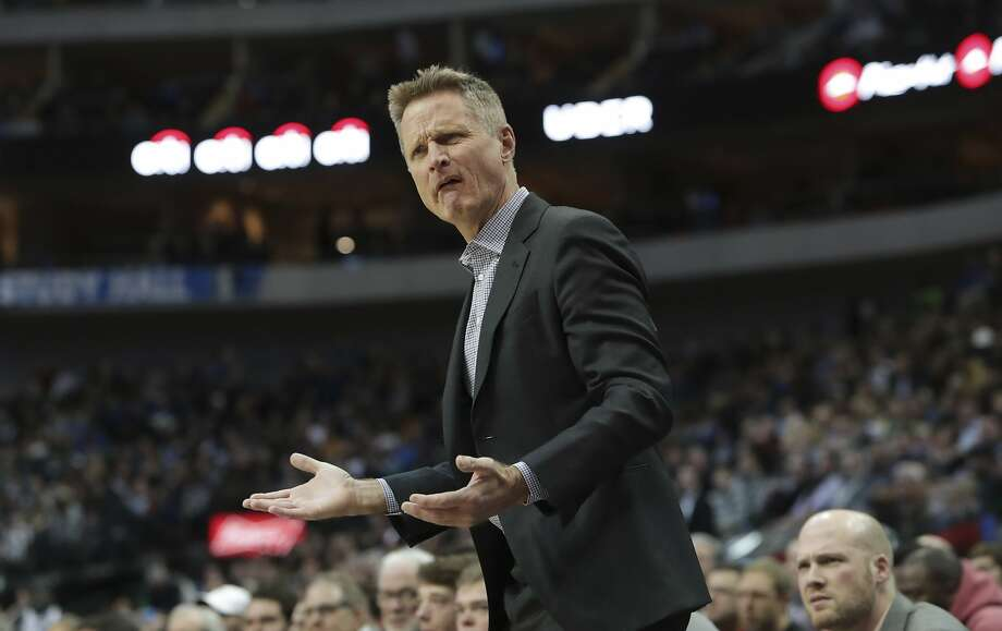Golden State Warriors head coach Steve Kerr questions a call during the first half of an NBA basketball game against the Dallas Mavericksin Dallas, Wednesday, Jan. 3, 2018. (AP Photo/LM Otero) Photo: LM Otero, Associated Press