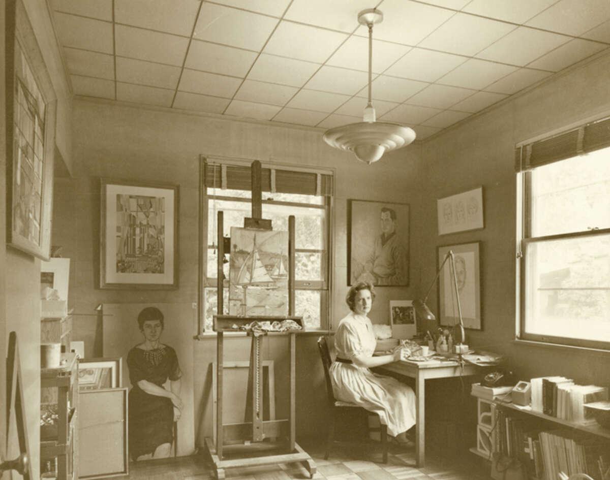 Artist Stella Sullivan in her Houston studio in the 1960s.