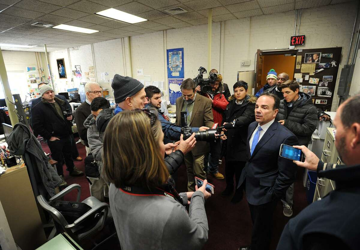 Bridgeport Mayor Joe Ganim is surrounded by reporters as he announces his candidacy for governor in the Capitol Press Room in Hartford, Conn. on Wednesday, January 3, 2018.