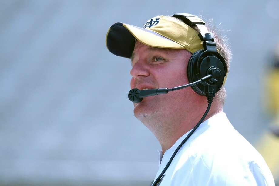 PHOTOS: Highest paid college football head coachesSOUTH BEND, IN - APRIL 22:  Notre Dame Fighting Irish Defensive Coordinator Mike Elko in action during the Notre Dame Fighting Irish Blue-Gold Spring Game on April 22, 2017, at Notre Dame Stadium in South Bend, IN.  (Photo by Robin Alam/Icon Sportswire via Getty Images) Photo: Icon Sportswire/Icon Sportswire Via Getty Images