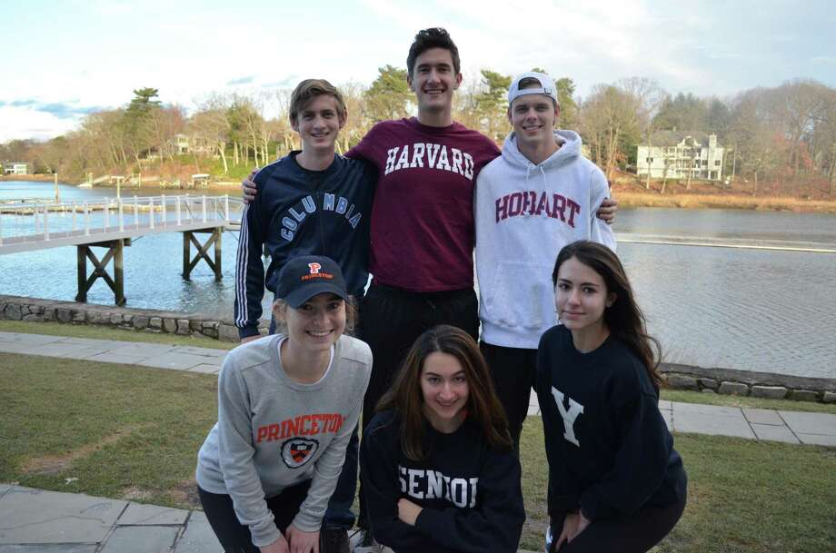 L-R: Jared Edwards, Columbia University; Harrison Burke, Harvard University; Wren Ferris, Hobart College, (lower row L-R): Isabelle Grosgogeat, Princeton University; Holly Shaum, American University; and Alin Pasa, Yale University. All students are seniors at Staples High School, except for Wren Ferris, who attends Greens Farms Academy. Photo: Contributed Photo