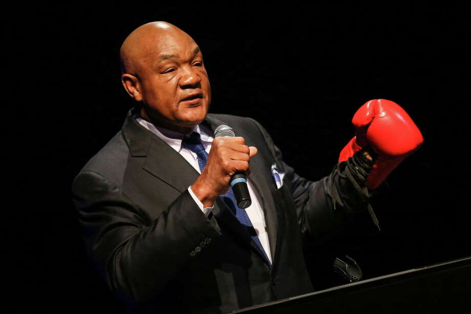 Champion boxer George Foreman gives a motivational speech to students on Monday, April 3, 2017, at Lone Star College-Montgomery. Foreman will serve as a Grand Marshal for the Jan. 15 MLK Grande Parade in Houston. Photo: Michael Minasi, Staff Photographer / © 2017 Houston Chronicle