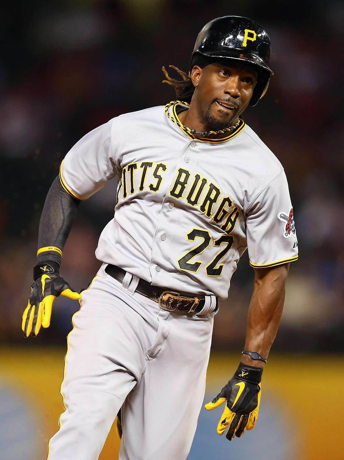 ARLINGTON, TX - SEPTEMBER 09: Andrew McCutchen #22 of the Pittsburgh Pirates at Rangers Ballpark in Arlington on September 9, 2013 in Arlington, Texas. (Photo by Ronald Martinez/Getty Images)