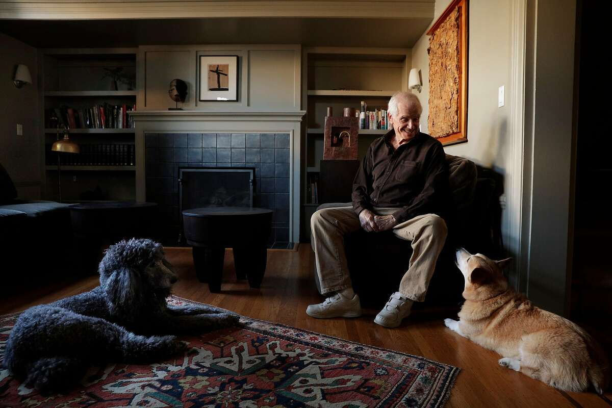 Jim Newman with his dogs Milo, right, and Sabine, left, in his San Francisco, Calif., home on Monday, November 27, 2017. Newman started an avant-garde art gallery in named Dilexi in 1958.