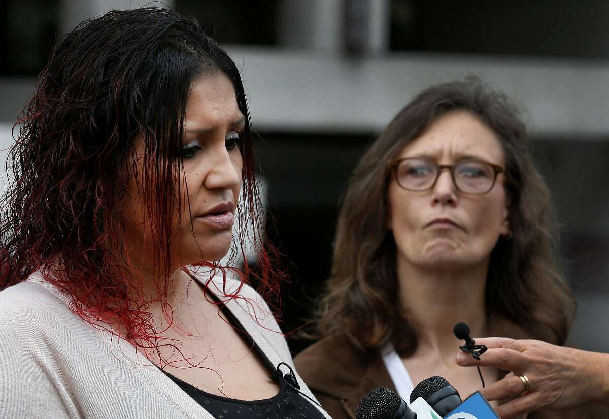 Christina Zepeda (left) and Alexis Wah appear at a news conference in Oakland, Calif. on Thursday, Jan. 4, 2018 where their attorneys announce the filing of a federal lawsuit against Alameda County and the Sheriff's Office alleging mistreatment of female inmates incarcerated in the county jail. Zepeda and Wah are two of the plaintiffs in the suit. Zepeda was pregnant when she was arrested on a probation violation and suffered a miscarriage while in custody.
