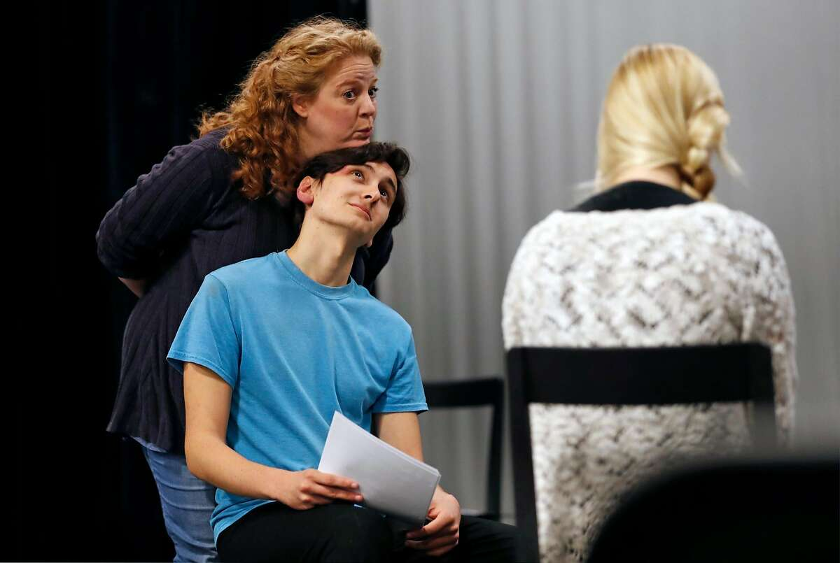 """Gwen Loeb and Nick Moore during rehearsal for the world premiere of """"Cow Pie Bingo,"""" written by Larissa FastHorse and directed by Jeanette Harrison in San Anselmo, Calif., on Wednesday, December 20, 2017."""