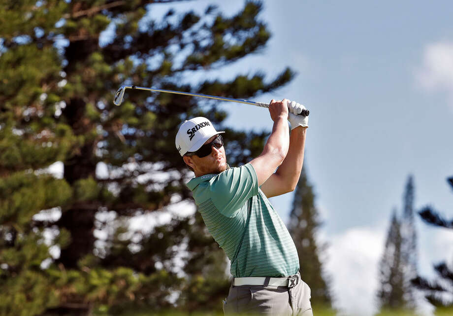 Chris Stroud hits from the second tee during the first round of the Tournament of Champions golf event, Thursday, Jan. 4, 2018, at Kapalua Plantation Course in Kapalua, Hawaii. (AP Photo/Matt York)