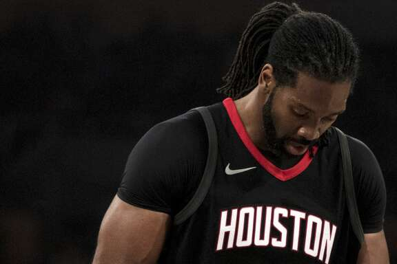 Houston Rockets center Nene Hilario (42) during the first half of an NBA basketball game, Sunday, Dec. 3, 2017, in Los Angeles. (AP Photo/Kyusung Gong)
