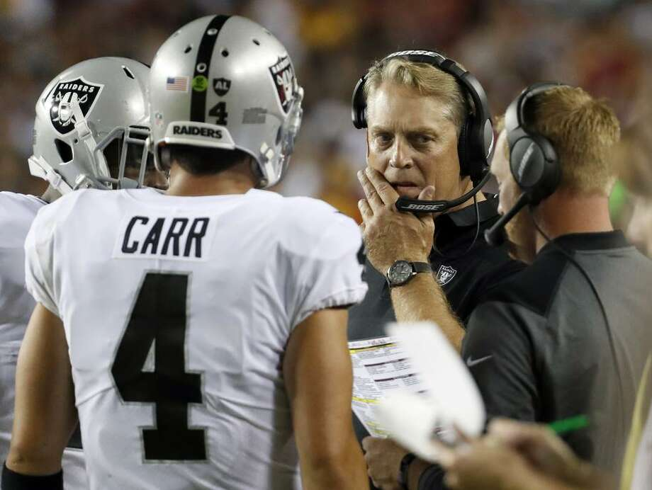 Raiders QB Derek Carr (4) regressed during a disappointing year that ultimately cost head coach Jack Del Rio his job. Photo: Alex Brandon / Alex Brandon / Associated Press / Copyright 2017 The Associated Press. All rights reserved.