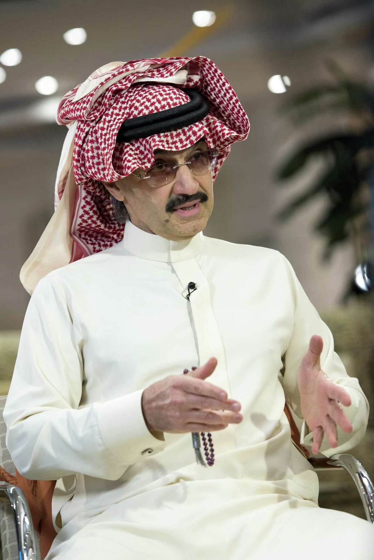 FILE: Prince Alwaleed Bin Talal, Saudi billionaire and founder of Kingdom Holding Co., speaks during a Bloomberg Television interview at the MiSK Global Forum event in Riyadh, Saudi Arabia, on Wednesday, Nov. 16, 2016. Saudi ArabiaÂ?'s King Salman embarked on the most sweeping crackdown yet of his reign, ordering security forces to arrest senior princes including one of the worldÂ?'s richest men and driving out one of the most prominent officials from his ministerial role. Those detained included billionaire Prince Alwaleed bin Talal, who was picked up at his desert camp outside Riyadh, according to a senior Saudi official. Our editors select the best archive images of Prince Alwaleed bin Talal. Photographer: Mohammad Obaidi/Bloomberg